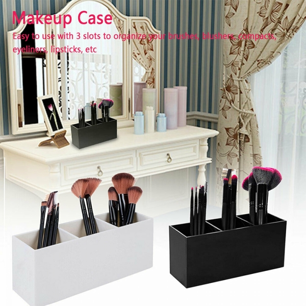 Acrylic 3 Slot Makeup Pencils Brush Holder Organizer Storage Box Case