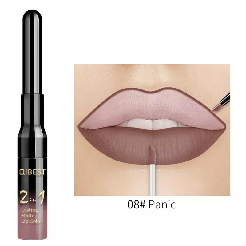 2 in 1 Waterproof Matte Double-end Pen Lip Liner Liquid Lip Gloss