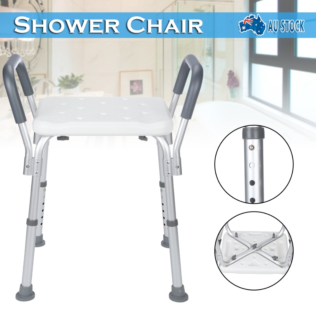 Adjustable Medical Shower Chair Bathroom Stool Bathtub Bath Aid Bench W/Armrest