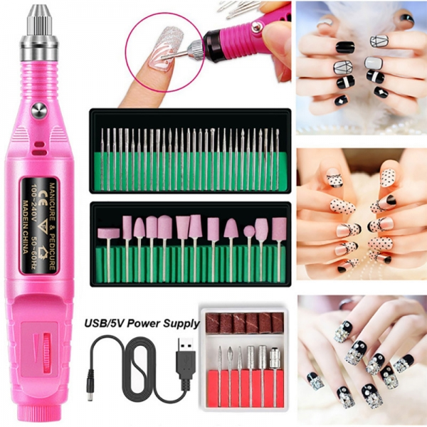 Electric Nail File Drill Kit Manicure Pedicure Set Portable Art Tool