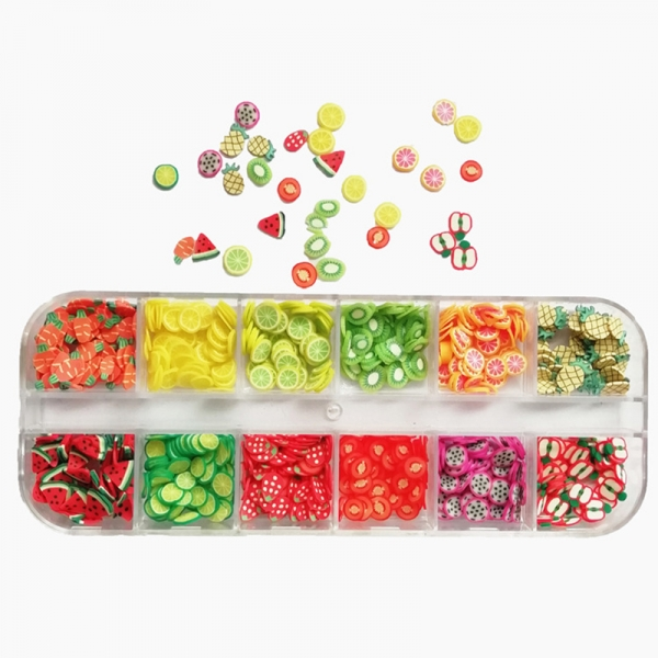 1box 3D Fruit Nail Art Mixed Flower Polymer Clay Slices Decoration