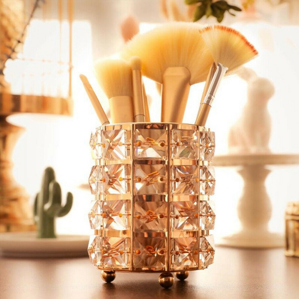 Crystal Cosmetic Makeup Brush Storage Bucket Pen Holder Organizer Decor