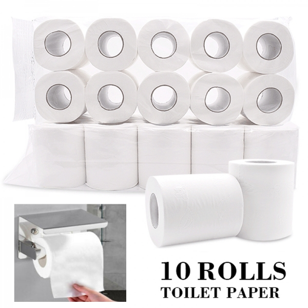 New 10 Rolls Toilet Paper Bulk Bath Tissue Bathroom White Soft 4 Ply 80g/Roll
