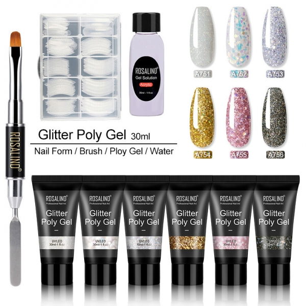 6pcs 30ml Glitter Poly Gel Shiny Builder Polish Nail Extension Art Kit