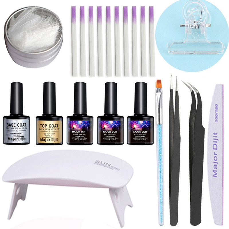 Fiberglass Nails Extension UV Gel Kit Manicure Salon Professional Tool