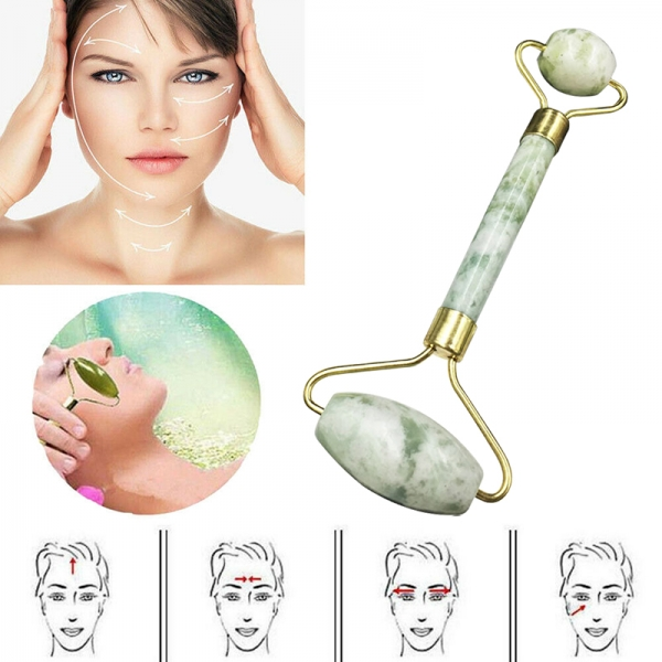 Natural Jade Stone Eye Neck Care Roller Facial Massager Relax Tool