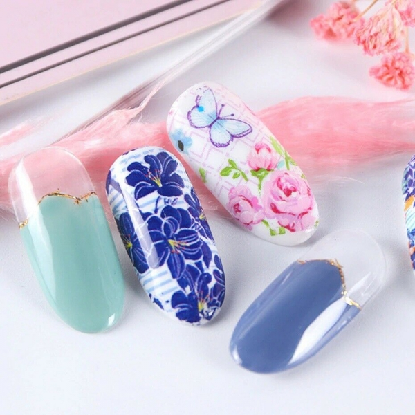 10Pcs 20x4cm Flower Nail Art Foil Sticker Transfer Film Manicure DIY