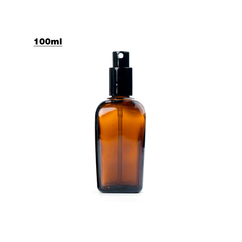 10-100ml Amber Glass Spray Bottle Essential Oil Mist Atomizer Refillable