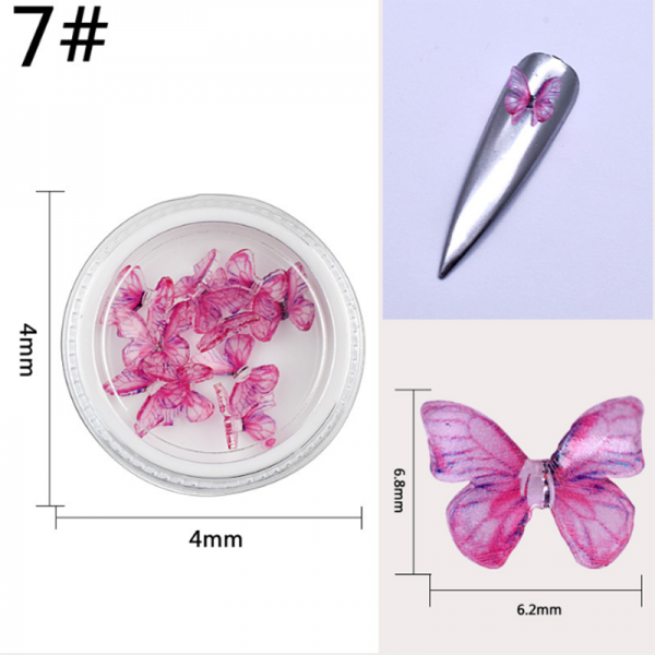 10pcs/box 3D Nail Art Butterfly Resin Stickers Glitters Manicure Tools