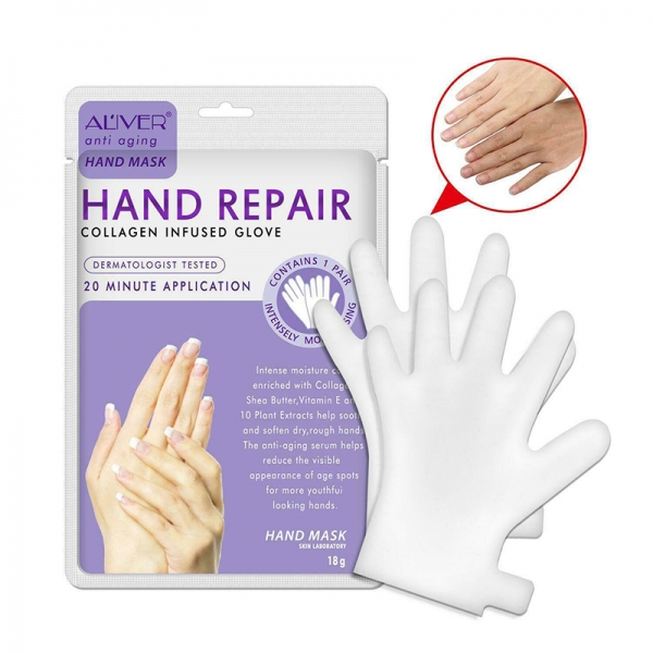 1 Pair Anti-Ageing Collagen Hand Repair Treatment Cream Mask Gloves