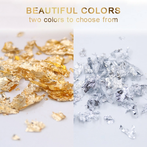 3g/bottle Gold Silver Foil Flakes Nail Decor Painting Gliding Fragments